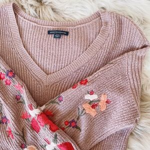 American Eagle - Cozy Dusty Rose Oversized Sweater